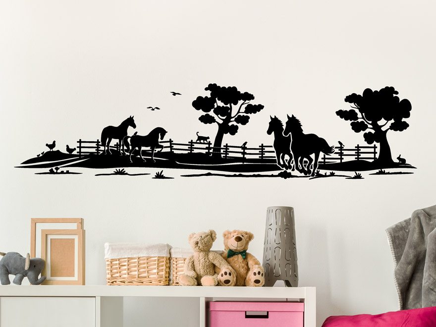 wandtattoo pferde kinderzimmer reuniecollegenoetsele. Black Bedroom Furniture Sets. Home Design Ideas