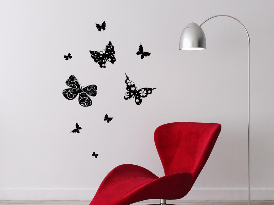 wandtattoo schmetterlinge mit muster von. Black Bedroom Furniture Sets. Home Design Ideas