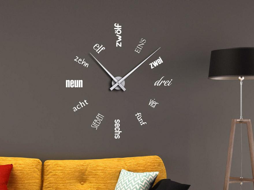 Wandtattoo Uhr Zahlen aus Schriften von Wandtattoo.net