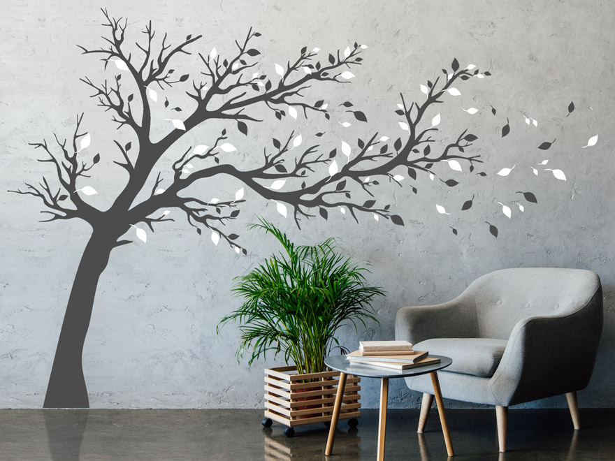 wandtattoo baum vom wind gebeugt von. Black Bedroom Furniture Sets. Home Design Ideas