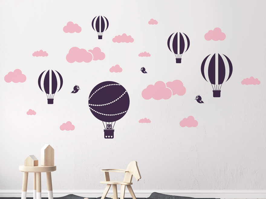 wandtattoo himmel mit wolken und hei luftballons von. Black Bedroom Furniture Sets. Home Design Ideas