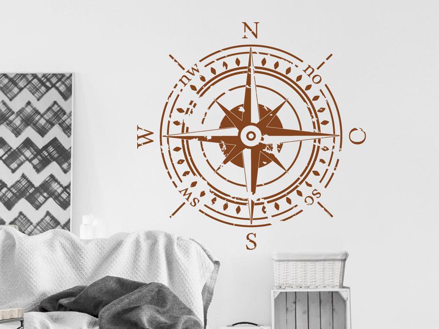 Wandtattoo kompass mit himmelsrichtungen von - Wandtattoo kompass ...