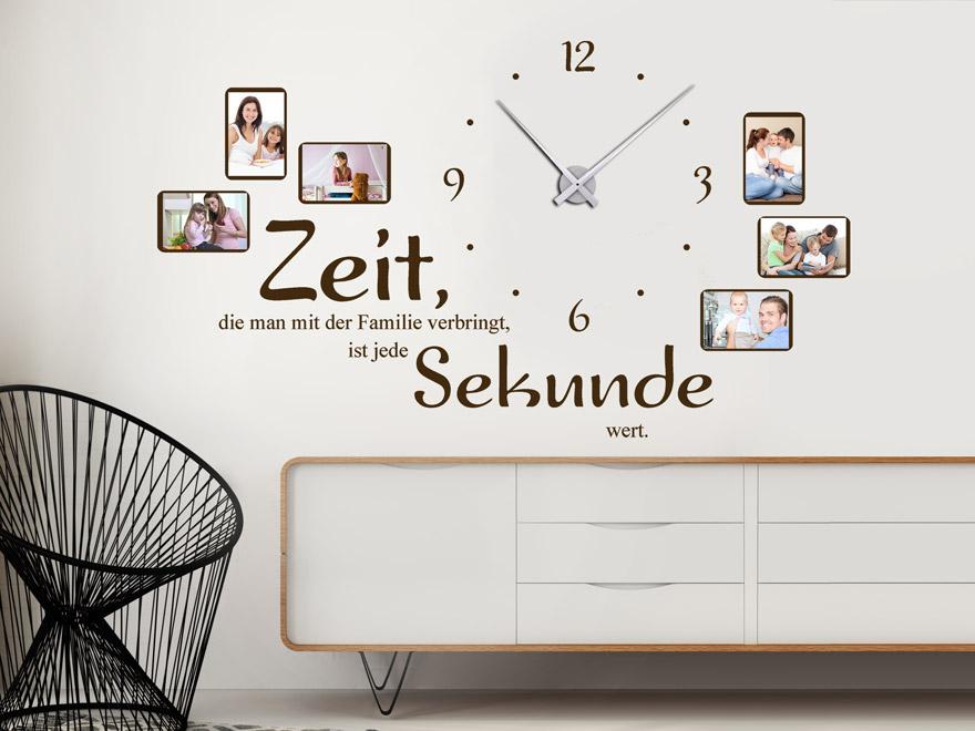 wandtattoo uhr familienzeit mit spruch und fotos von. Black Bedroom Furniture Sets. Home Design Ideas