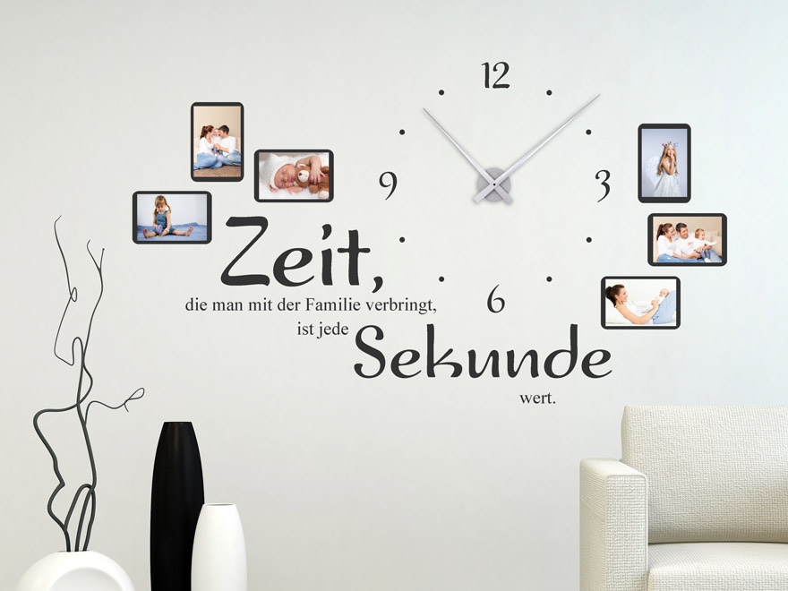 wandtattoo uhr familienzeit mit spruch und fotos von. Black Bedroom Furniture Sets. Home Design Ideas