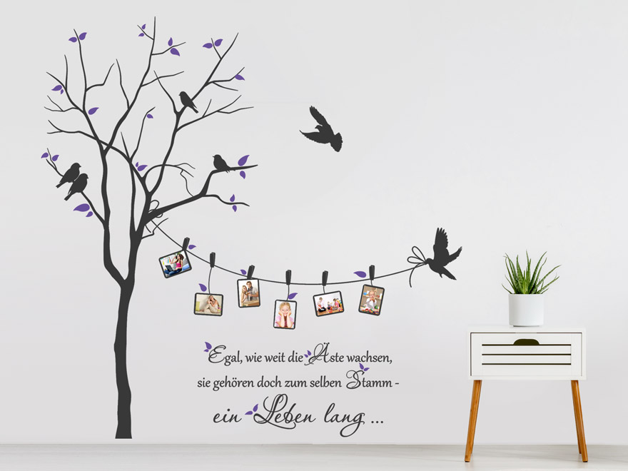 wandtattoo fotobaum mit spruch von. Black Bedroom Furniture Sets. Home Design Ideas
