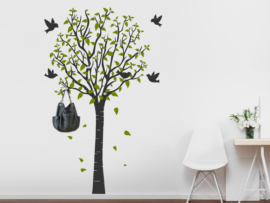 Wandtattoo Garderobe Baum Mit Vögeln