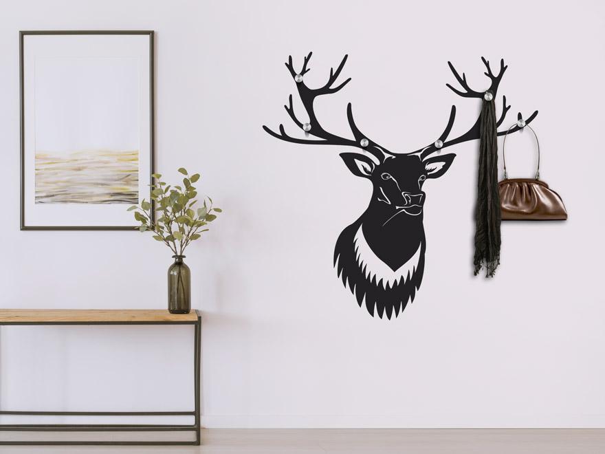 wandtattoo garderobe hirschkopf von. Black Bedroom Furniture Sets. Home Design Ideas