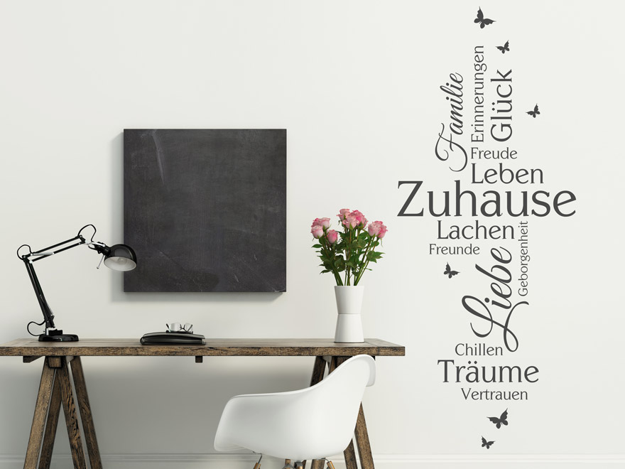 wandtattoo zuhause leben lachen von. Black Bedroom Furniture Sets. Home Design Ideas
