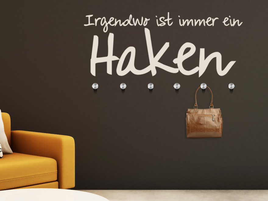 wandtattoo garderobe irgendwo immer ein haken von. Black Bedroom Furniture Sets. Home Design Ideas