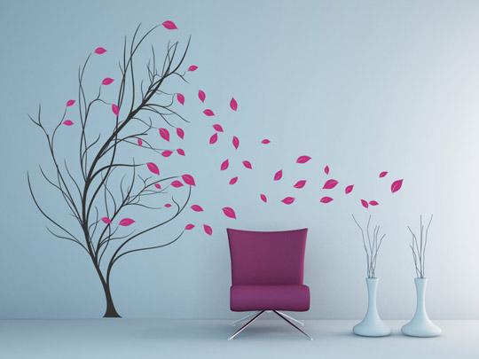 wandtattoo baum im wind wandtattoos zweifarbig von. Black Bedroom Furniture Sets. Home Design Ideas