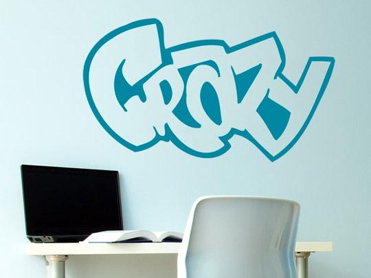 wandtattoo graffiti schriftzug crazy wandtattoo im graffiti look. Black Bedroom Furniture Sets. Home Design Ideas