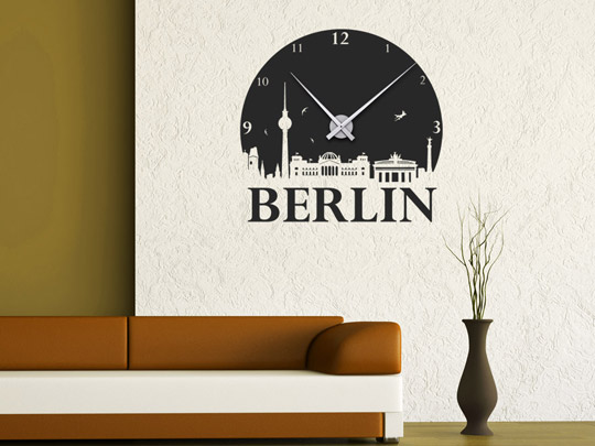 wandtattoo uhr berlin wanduhr von. Black Bedroom Furniture Sets. Home Design Ideas