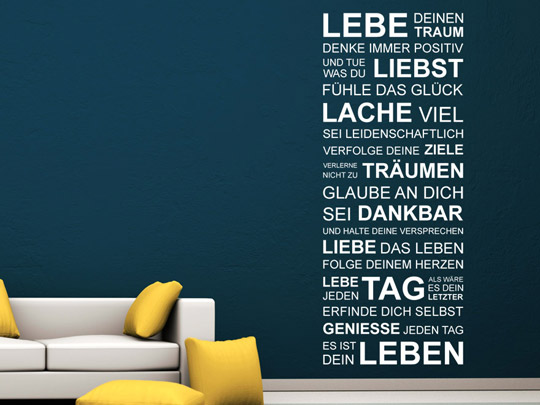 motivierender wandtattoo spruch motivierende spr che als wandtattoos. Black Bedroom Furniture Sets. Home Design Ideas