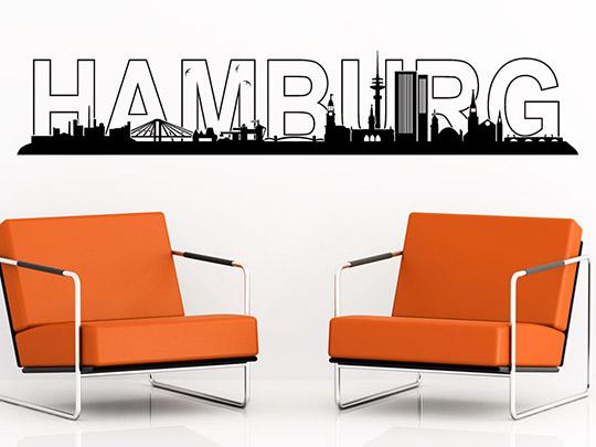 stadt wandtattoo hamburg skyline von. Black Bedroom Furniture Sets. Home Design Ideas