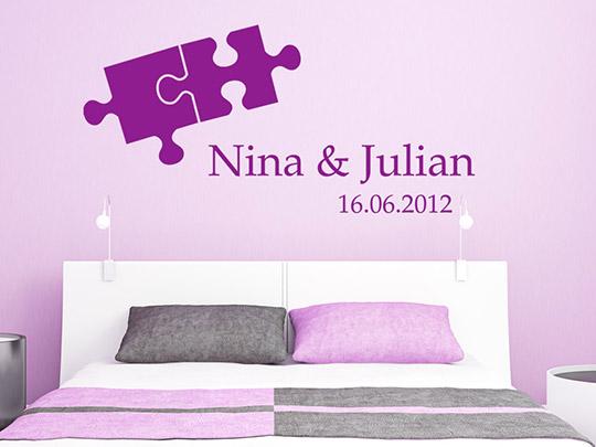 hochzeit wandtattoo puzzle mit namen und datum von. Black Bedroom Furniture Sets. Home Design Ideas