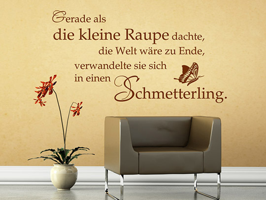sprichwort wandtattoo schmetterling spruch von. Black Bedroom Furniture Sets. Home Design Ideas