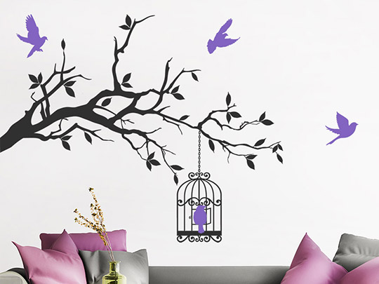 pin wandtattoo vogel tolles vogelmotiv als wandaufkleber. Black Bedroom Furniture Sets. Home Design Ideas
