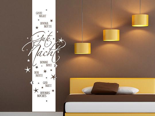 wandtattoo banner gute nacht mehrsprachig von. Black Bedroom Furniture Sets. Home Design Ideas