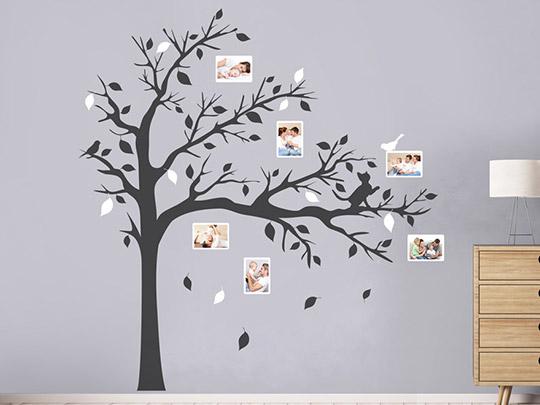 Wandtattoo fotobaum mit katze und vogel von - Wandtattoo baum bilder ...