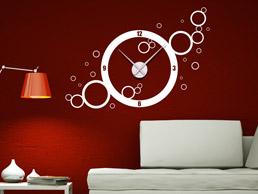 Wandtattoo Uhr Retro Kreise