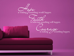 Wandtattoo Hope Faith Courage