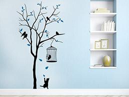 wandtattoo stromleitung mit v geln von. Black Bedroom Furniture Sets. Home Design Ideas